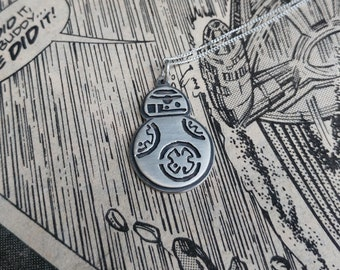 Sterling Silver Star Wars BB8 Inspired Droid Pendant Necklace