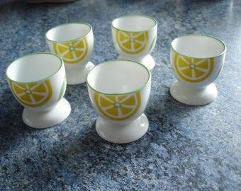 set of 5 ceramic egg cups