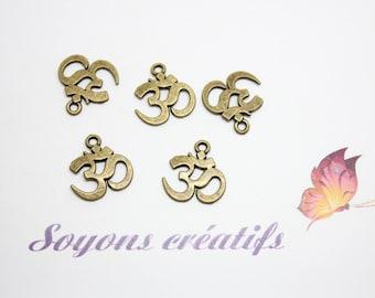 10 pendants charms 15x14mm - SC0080926 Bronze Ohm Charm
