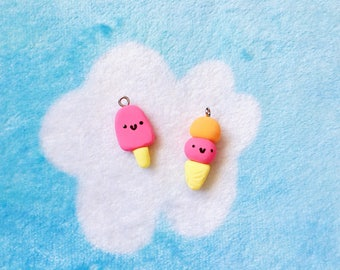 Handmade Ice Cream Summer Pin Button Pinback Polymer Clay Neon Pink Keychain Magnet