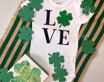 LOVE 4 leaf clover onesie- St Pattys Day Onesie- Saint Patricks Day Onesie