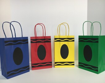 Crayon Goodie Bags - Crayon Paper Favor Bags - Set of 10 bags