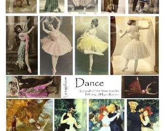 DANCE collage sheet, digital DOWNLOAD vintage images, altered art ephemera, ballerinas dancers photos women, Victorian paintings Renoir Dega
