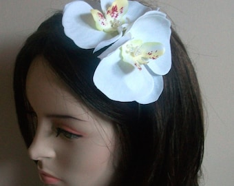 White orchid Fascinator Headband orchid flower headband white orchid hair band White Wedding orchid flower with pearls and crystals