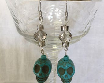 Crystal and Turquoise Skull earrings