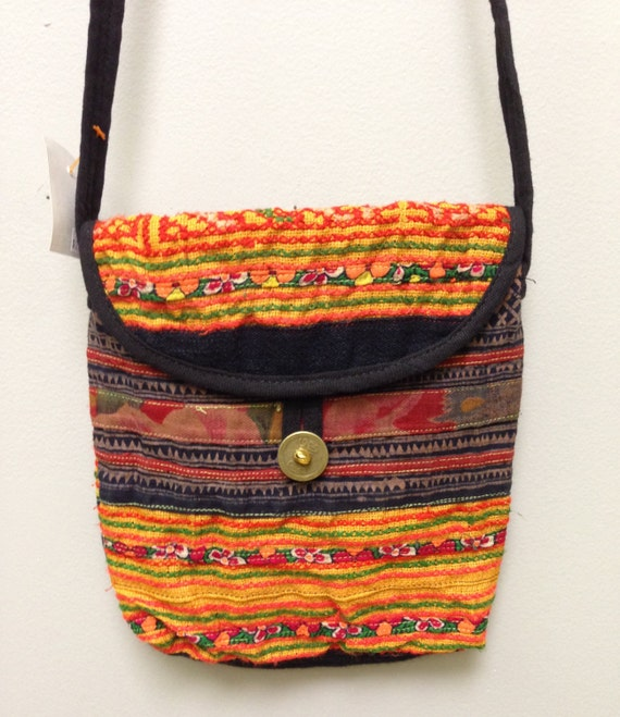 Chinese Hmong Embroidered Purse Hill Tribe Handmade Colorful Shoulder Bag Purse Hand Woven Gift for Her One of Kind Tribal