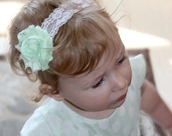 Mint shabby chic flower headband with white lace