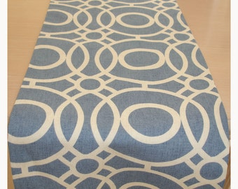 "Blue Coffee Table Runner 48"" Modern Cotton 4ft 120cm"