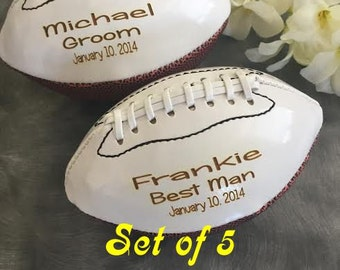Groomsman Gifts/SET OF FIVE Personalized  Mini Footballs/Ring Bearer Gifts/Bridal Party Gift/Gifts for Him/Fathers Day Gift/Best Man Gift