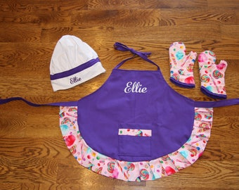 Custom Embroidered  Apron Personalized Apron Made to Order birthday  Chef Hat little girl apron Child Apron Personalized Apron gifts toddler