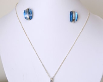 SET in silver Sterling and crystal blue Swarovski, pendant and earrings