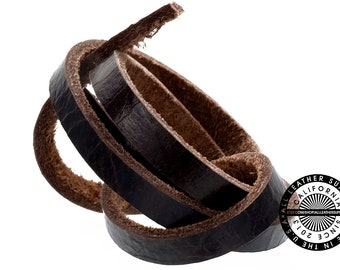 """Genuine Leather Strap, Single Side Grainy Dark Chocolate Brown , 6mm (1/4"""" inch) 3 yards (108"""" inches)  (1720)"""