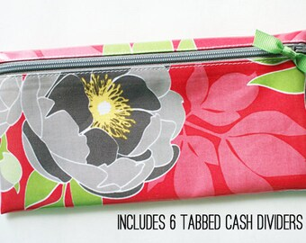 Cash envelope system wallet for Dave Ramsey budget | 6 sturdy cash dividers | watermelon pink, gray, green, yellow designer laminated cotton