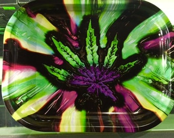 Multi-colored Cannabis Pot Leaf Tobacco Herb Rolling Tray
