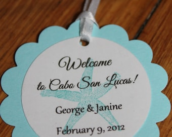 25 Circle Scallop Personalized Tag with Satin Ribbon for Wedding; Favor Tag; Welcome Tag; Destination Wedding