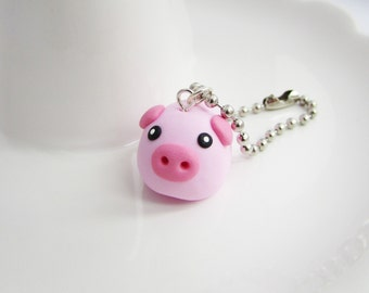 Pig charm, Polymer clay pig, Cute pig charm, Polymer clay charm, Stitch marker, Planner charm, Pig jewelry, Kawaii pig, Christmas gift,