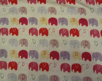 White with Red/Yellow/Purple Elephants Flannel Fabric by the Yard