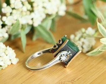 Turkish Hurrem Sultan Elegant 925 Sterling Silver Jade Stones Revers Style Rings