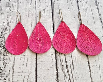 Leather Earrings, Lightweight Leather, Teardrop Earrings, Textured Earrings, Colorful Leather, Pink Earrings, Dangle Earrings, Drop Earrings