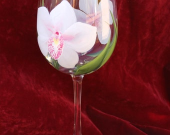 Hand Painted Wine Glasses - Anne Marie Orchids (Set of 2)