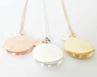 Personalized Rose Gold Locket - Initial Locket - Gold Bridesmaid Locket - Flower Girl Locket -Childrens' Locket -Bridesmaid Necklace -Silver