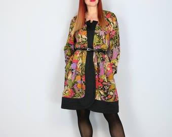1980s Dress - Vintage Floral Coat Dress - Asian Inspired - Designer Stanley Platos Martin Ross - Silk Jacket Dress - Size Medium