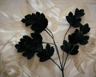 Vintage black velvet leaf spray 1930s