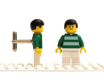 Soccer / Football cufflinks. Cufflinks made with LEGO(R) bricks.   Celtic FC fan, Cuff links Cufflink Wedding gift