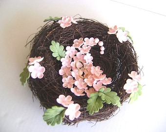 Wedding Ring bearer Cherry Blossoms and Nest Ring Pillow Handmade Clay Persian Paisley