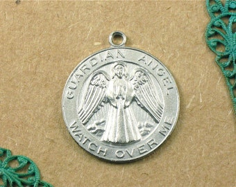 matte silver Guardian Angel jewelry token pendant. Watch Over Me . 28mm x 24mm (ST23)
