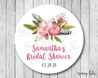 Watercolor Floral Shower Favor Stickers, Personalized Boho Floral Labels, Watercolor Bridal Shower Tags, Watercolor Wild Roses