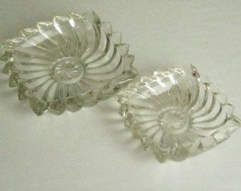 Heavy Crystal Ashtrays Swirl Pattern