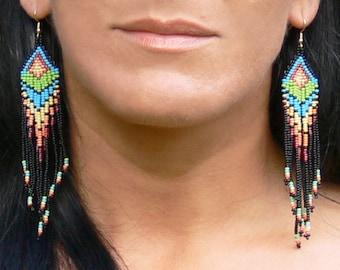 Native American Beaded Earrings Inspired. Colorful Dangle Earrings. Beaded Jewelry. Beadwork