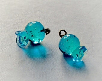 25%OFF Aquamarine Blue Glass beads Pomegranate lampwork Bead Large Pendant DIY jewelry making  Beach Home Decor Good Luck Charm