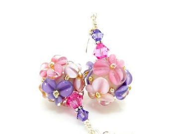 Pink Purple Earrings, Lampwork Earrings, Glass Bead Earrings, Glass Earrings, Flower Earrings, Floral Earrings, Glass Bead Jewelry