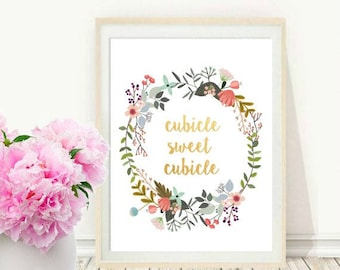 Cubicle Sweet Cubicle, Cubicle Decor, Cubicle Wall Art, Printable Art, Instant Download, Office Art, Wall Decor