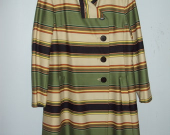 GOOD DAY SUNSHINE 1960s Vintage Marshall Field and Company Striped Coat