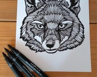 Fox print - Monochrome Design - A5 Print