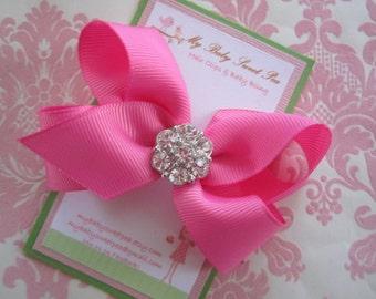 Girl hair clips - pink hair bows - girl barrettes