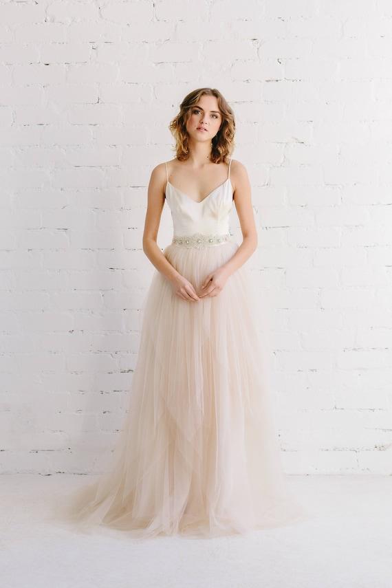 Schlichtes Brautkleid erröten Hochzeit Kleid Braut Rock