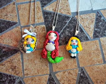 Necklaces inspired by Alice in Wonderland and Ariel