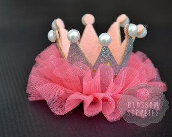 Silver Salmon Pink Glitter Pearl Ruffle Tulle Crowns - DIY Birthday Tiara Crown Headband Clip Hat Wholesale Craft Supplies 1st Birthday Bow