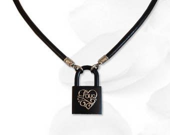 BDSM Collar Love Lock BDSM Collar Black Leather Sterling Love Heart Submissive BDSM Daytime Slave Collar bdsm Jewelry