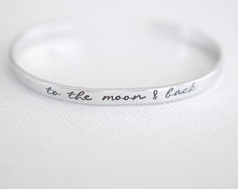 To the Moon & Back Bracelet - Moon and Back Cuff Bracelet - Skinny 1/5 inch