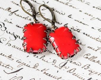 Lipstick Red Vintage Rhinestone Earrings, Nickel Free Dangle Earrings Antique Style Jewelry Vintage Style Jewelry Retro Jewelry