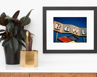 Bowling Alley Neon Sign Art | Googie Art | Neon Sign Print | Mid Century Wall Art | Los Angeles Art | Mid Century Modern Art | Neon Art