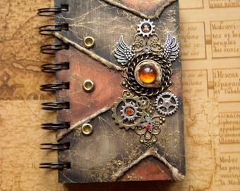 various colors - Agend Scrapbooking book - sketchbook - notebook  - steampunk - Handmade