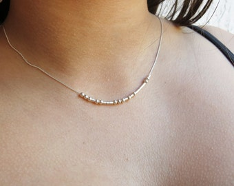 Morse Code Necklace - Dainty necklace,  Sterling Silver or Gold Fill - Hidden Message,   Personalized necklace, minimalist, gift for mom