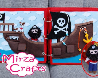 PATTERN & TUTORIAL 2 Quiet book pages Piratebook - Pirate ship with pirate