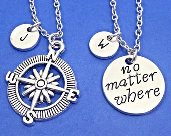 925 Sterling Silver,Best friend necklace - set of 2, distance necklace, no matter where charm necklace, friend jewelry,personalized,bff gift